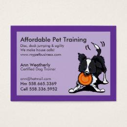 Dog training business cards templates zazzle dog trainer pet training border collie purple business card colourmoves