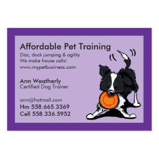Dog Trainer Pet Training Border Collie Purple Large Business Cards (Pack Of 100)