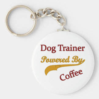 Dog Trainer Powred By Coffee Basic Round Button Keychain