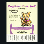 """Dog Trainer Training Active Terrier Tear Sheet<br><div class=""""desc"""">Promote your dog walking business with these full color eye-catching flyers that you personalize with your own info. Original design by Andie, illustrator and creator of Off-Leash Art™, featuring her hand drawn dog illustration. To change the background color, click the orange &quot;customize it!&quot; button below the product image, then on...</div>"""