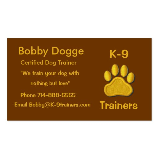 Dog trainers business card zazzle for Dog trainer business card
