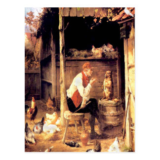 Dog Training Vintage Fine Art Painting Postcard