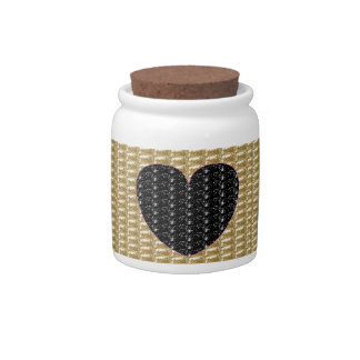 Dog Treat Gold Ribbed Black Heart Glitter Candy Dishes