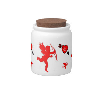 Dog Treat Jar Cupid and Heart Red