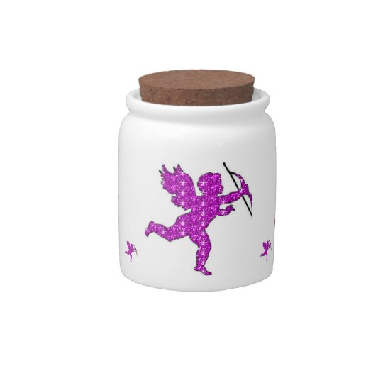 Dog Treat Jar Cupid Pink Glitter Candy Dishes