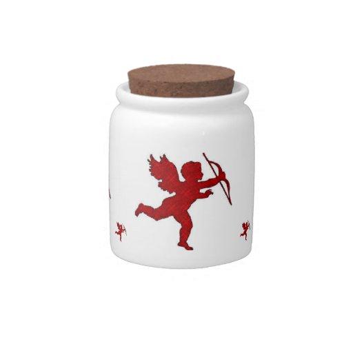 Dog Treat Jar Cupid Red Candy Dish