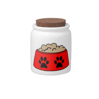 Dog Treat Jar Food Bowl Red Black Paws Candy Dish