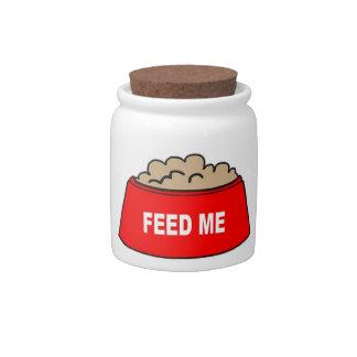 Dog Treat Jar Food Bowl Red Feed Me