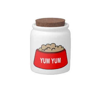 Dog Treat Jar Food Bowl Red Yum Yum Candy Jar