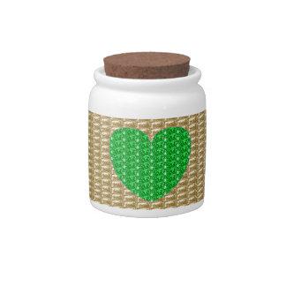 Dog Treat Jar Gold Green Heart Ribbed Candy Dish