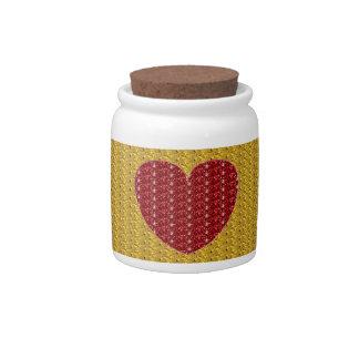 Dog Treat Jar Gold Red Heart Glitter Candy Dish
