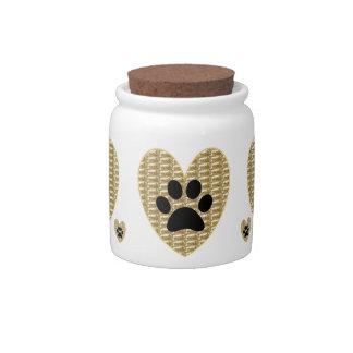 Dog Treat Jar Gold Ribbed Black Paw Candy Jars