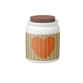 Dog Treat Jar Gold Ribbed Orange Heart Glitter Candy Jars