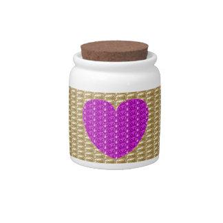 Dog Treat Jar Gold Ribbed Pink Heart Glitter Candy Jars