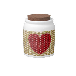 Dog Treat Jar Gold Ribbed Red Heart Glitter Candy Dishes
