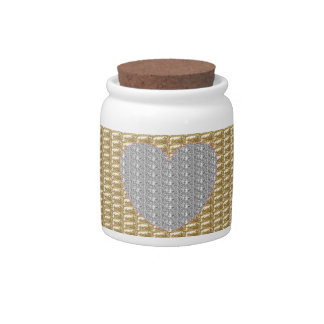 Dog Treat Jar Gold Ribbed Silver Heart Glitter Candy Dishes