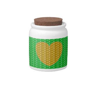 Dog Treat Jar Green Gold Heart Glitter Candy Dishes