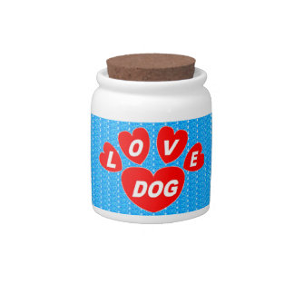 Dog Treat Jar Love Dog Hearts Red on Bright Blue