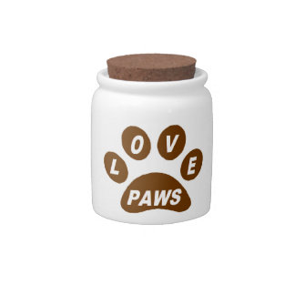 Dog Treat Jar Love Paws on Paws Brown Candy Jars
