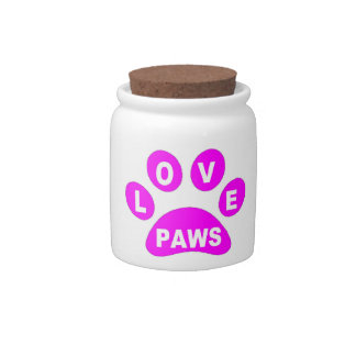 Dog Treat Jar Love Paws on Paws Pink Candy Dish