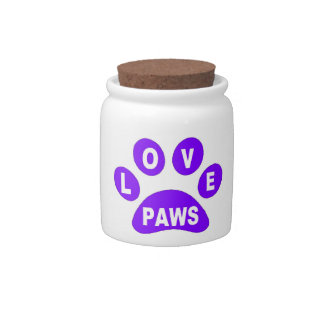Dog Treat Jar Love Paws on Paws Purple Candy Dish