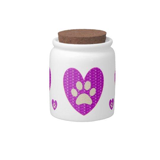 Dog Treat Jar Paws Heart  Pink Glitter Candy Jar