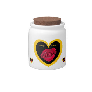 Dog Treat Jar Rose Heart on Black Gold, Be My Val