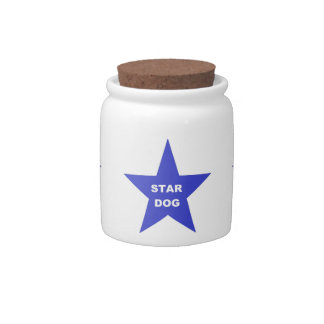 Dog Treat Jar Star Dog on Blue Star Candy Dishes