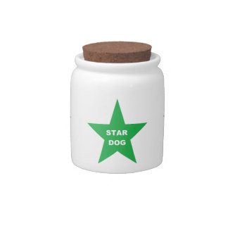 Dog Treat Jar Star Dog on Green Star Candy Jar