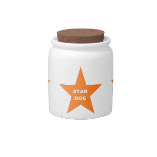 Dog Treat Jar Star Dog on Orange Star Candy Dishes