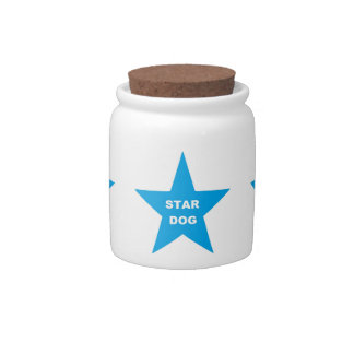Dog Treat Jar Star Dog on Turquois Star Candy Dish
