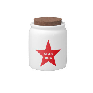Dog Treat Jar Star Dog Red Star Candy Jar