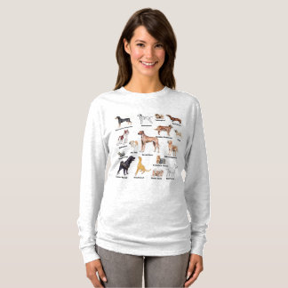 Dog types full color labled T-Shirt