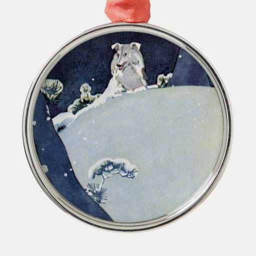 Dog Under Snowy Pines Metal Ornament