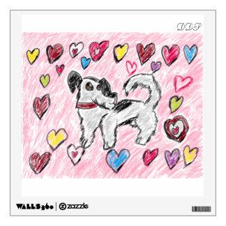 dog valentine wall decal