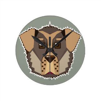 Dog Vector icon Round Clock
