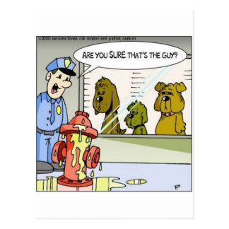 Dog Vs Hydrant Police Line Up Funny Gifts & Tees Postcard