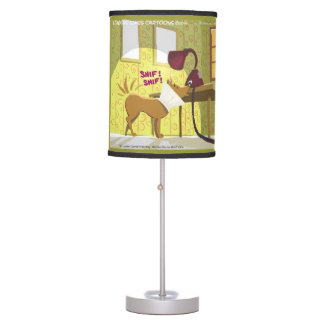 Dog W/Cone Over Head Sniffs Lamp Funny Table Lamp