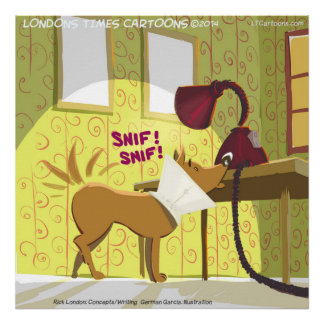 Dog W/E-Collar Sniffing Lamp Funny Poster