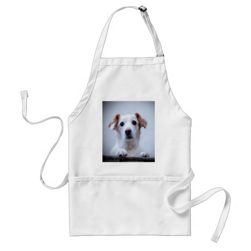 dog wait for mom love peace adult apron