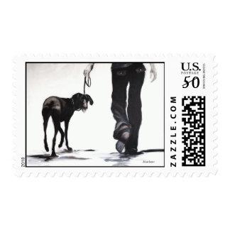 Dog Walk Postage Stamp