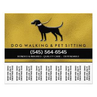 Dog Walker 5.6 x4.5 Tear Off Flyer Gold & Black