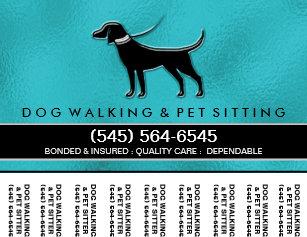 dog walker 56 x45 tear off flyer teal blue black