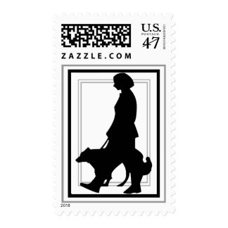 Dog Walker Animal Silhouette Black and White Postage