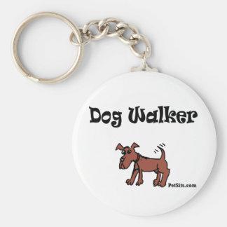 Dog Walker Basic Round Button Keychain