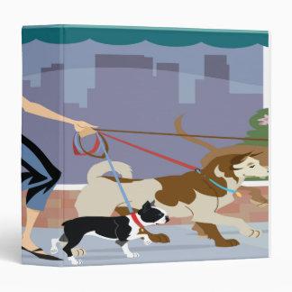 Dog Walker Brunette Notebook 3 Ring Binder