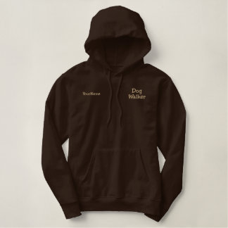 Dog Walker Business Tan Thread on Brown Embroidered Hoodie