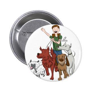 Dog Walker Cartoon Button