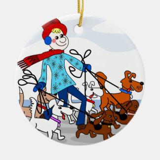 Dog walker ceramic ornament