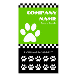 dog walker checkers punchcard Double-Sided standard business cards (Pack of 100)